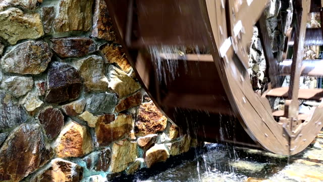 Old Rustic Watermill In Action
