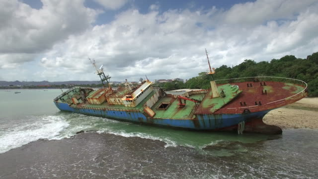 Old Rusty Ship, Abandonment, Destruction At The Beach
