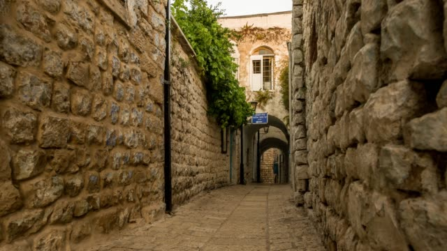 Old Safed (Tzfat) day to night timelapse video