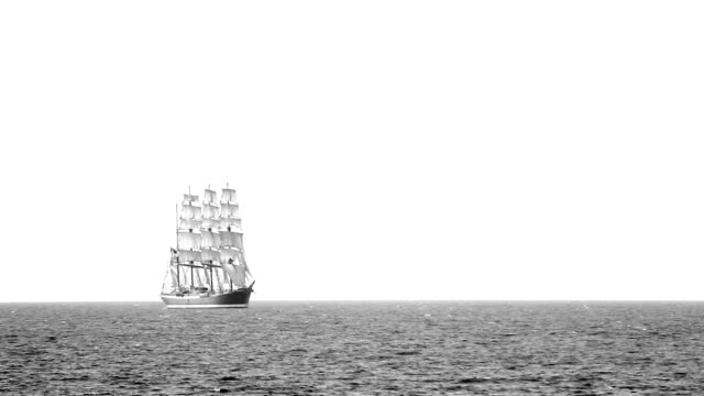 Old sailing ship in full sail in the sea video