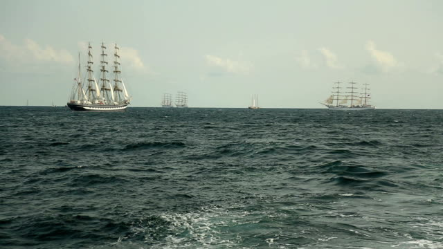 Old sailing ships in the open sea Old sailing ships in the open sea regatta stock videos & royalty-free footage