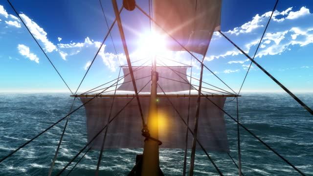 old ship in open sea 4k
