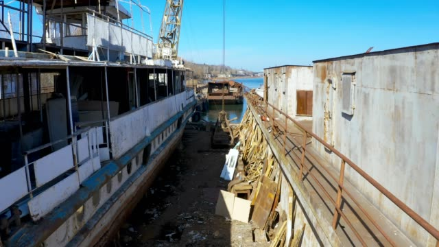 old ship repair barge - chiatta video stock e b–roll