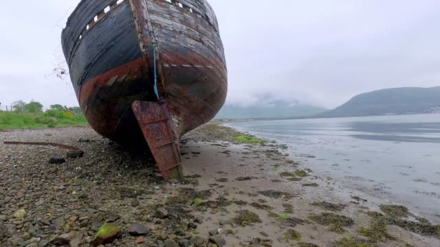 old ship wreck in fort william, scotland - fort william video stock e b–roll