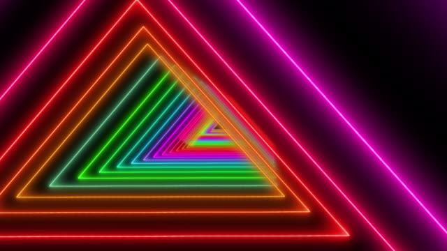 Old Skool Retro Neon tunnel background Retro 3D triangles in neon disco colours laser stock videos & royalty-free footage