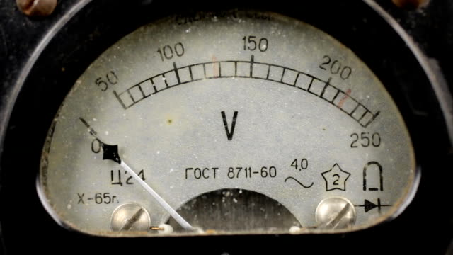 Old soviet voltmeter measures the voltage in the network video