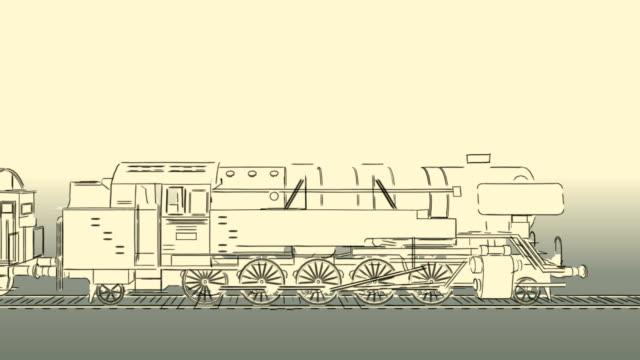 Royalty free train blueprint hd video 4k stock footage b roll old steam train cartoon sketch 2d animation video malvernweather Choice Image