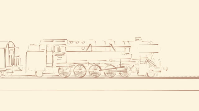 Old steam train cartoon sketch 2D animation video