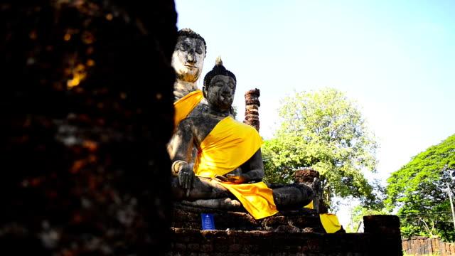 Old Stone Buddha Statues Old Stone Buddha Statues sukhothai stock videos & royalty-free footage