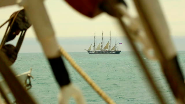 Old Tall Ships through the rigging