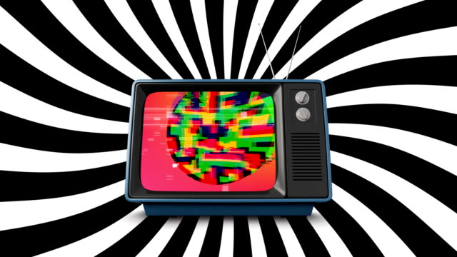 Old television with colorful static
