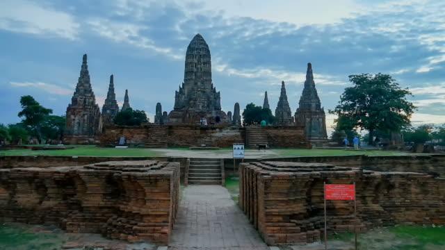 Old Temple wat Chaiwatthanaram timelapse video