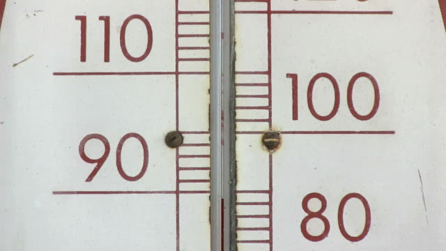 Old thermometer 80 to 100 fahrenheit closeup video