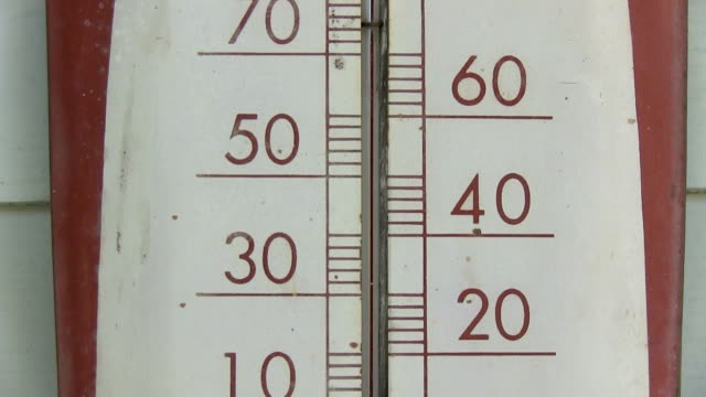 Old thermometer pan up 0 to 110 fahrenheit video