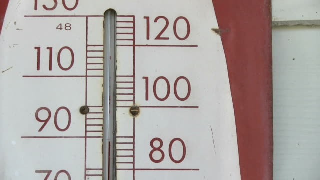 Old thermometer showing 100 fahrenheit closeup zoom video
