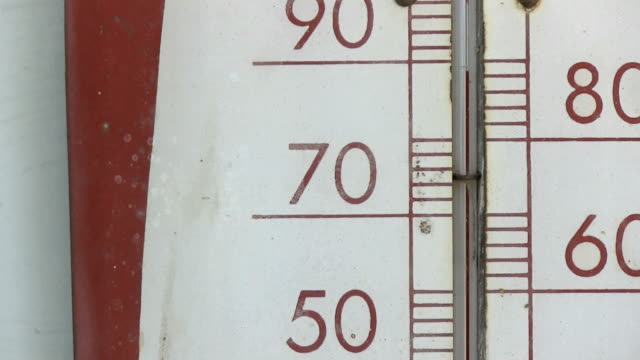 Old thermometer showing 70 fahrenheit closeup zoom video