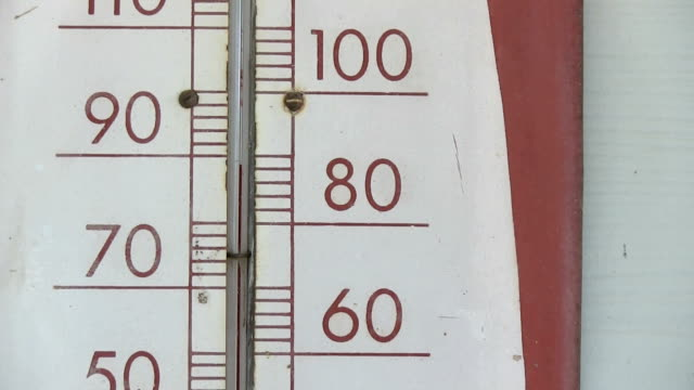 Old thermometer showing 80 fahrenheit closeup zoom video