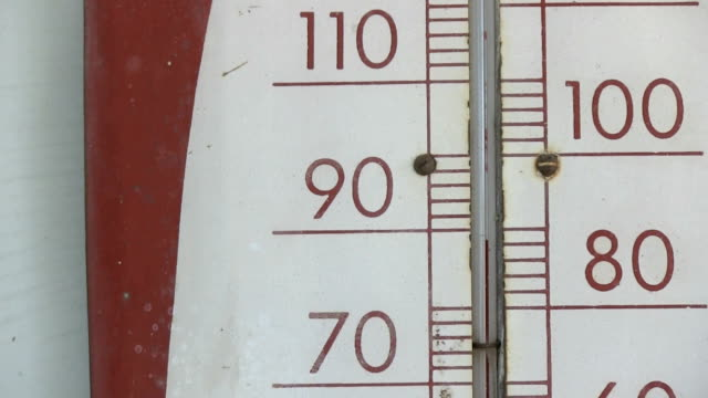 Old thermometer showing 90 fahrenheit closeup zoom video