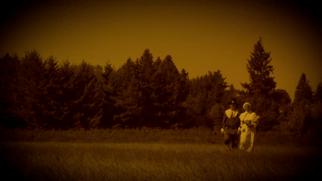 hd old time pilgrims in field - thanksgiving background stock videos & royalty-free footage