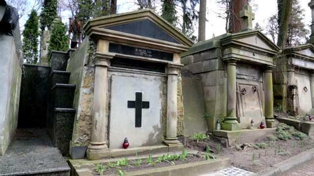 Old tombs on the Lychakiv Cemetery in Lviv, Ukraine video