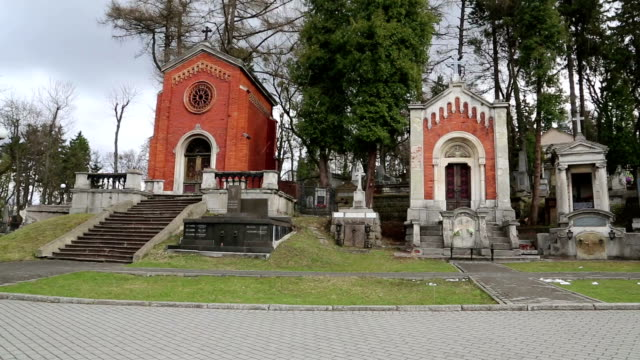 Old tombs on the Lychakiv Cemetery in Lviv, Western Ukraine video