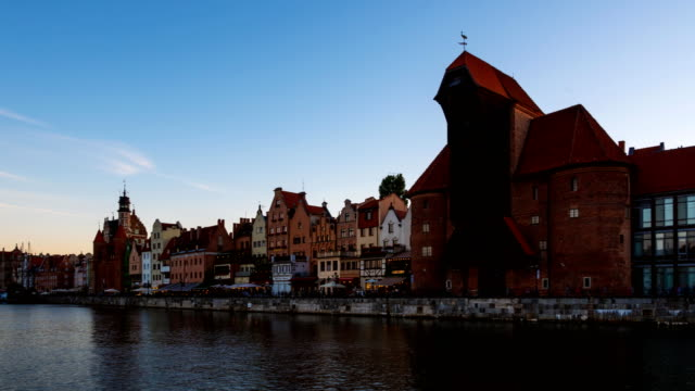 Old town in Gdansk at dusk video