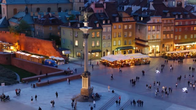 Old Town Square in City of Warsaw at Night