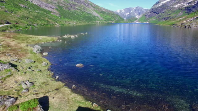 Old traditional Norwegian houses by lake, aerial view video