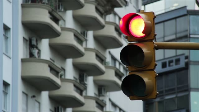 Old Traffic Light, Red Turns Green. Buenos Aires, Argentina.