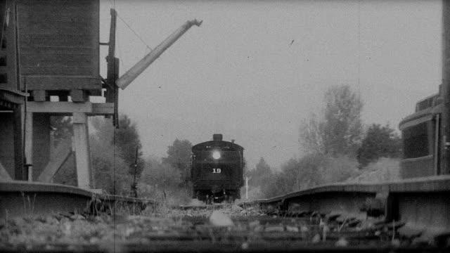 Old train pulling into station video