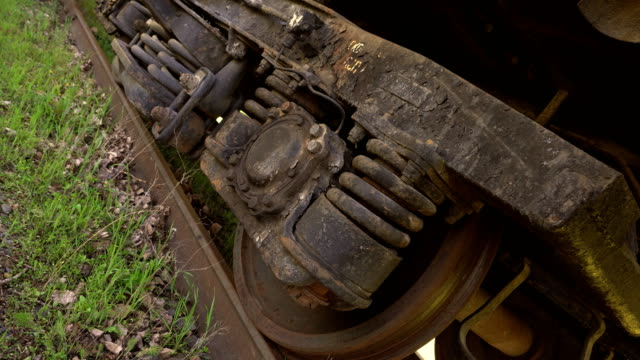 Old train wheel on a track. video