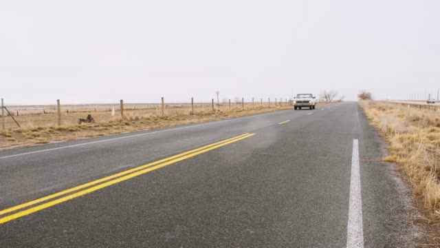 Old Truck on an Empty Road A bearded man driving an old pickup truck on an empty two lane rural road. country road stock videos & royalty-free footage