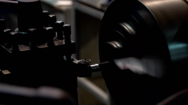 Old turning lathe machine in turning workshop video
