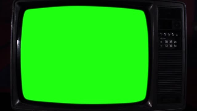 Old Tv With Green Screen. Close-Up. video