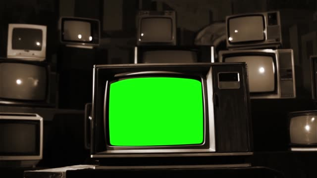 Old Tv With Green Screen. Sepia Tone. video