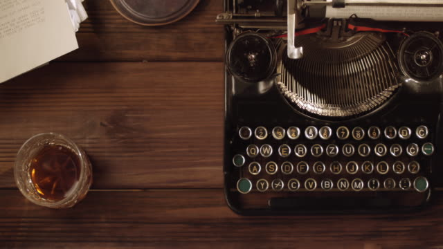 DS Old typewriter on a neat vintage office desk video