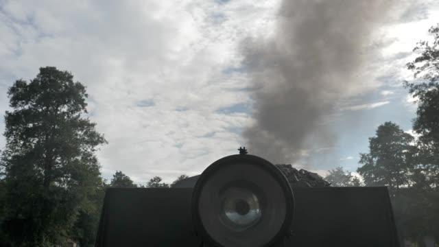 Old Vintage Locomotive Transportation Revolution. History. smoke of old historic locomotive