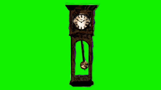 Old Wall Clock in Artistic Stop Motion Style on a Green Screen Background Old Wall Clock in Artistic Stop Motion Style on a Green Screen Background wall clock stock videos & royalty-free footage
