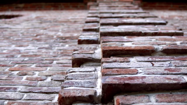 old wall with ancient brickwork, brick background. - mattone video stock e b–roll