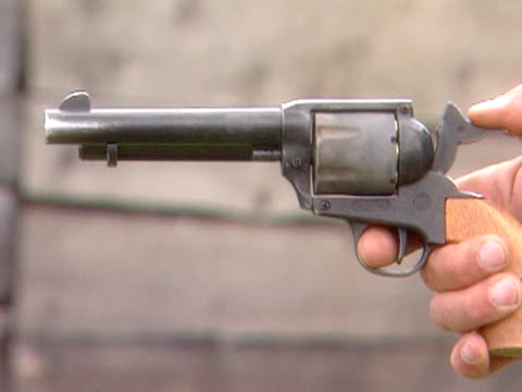 Old West revolver fires a shot video