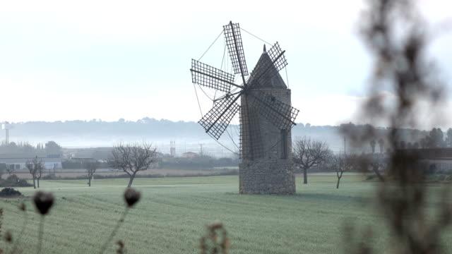 霧に満ちたフィールドに立っている古い風車 - ヴァルデモサ点の映像素材/bロール