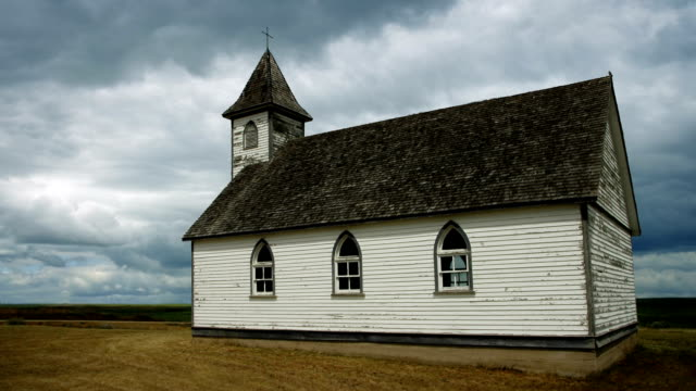 Old Wooden Church With Passing Clouds