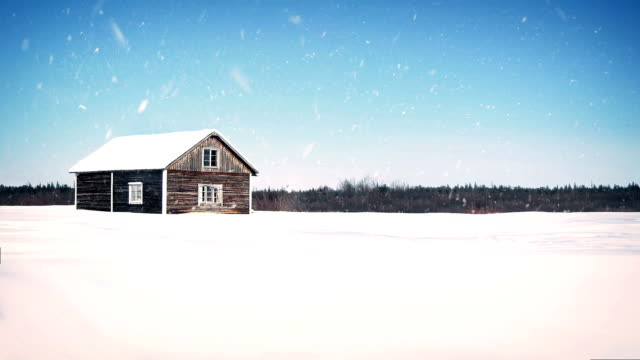 Old Wooden Farm House In Snowfall video