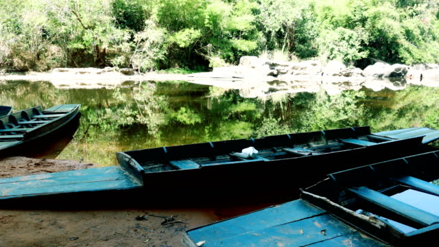 Old wooden fishing boats Asia video