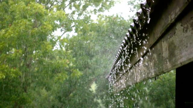 たいまつ - 嵐の中の古い木造屋根 - 屋根点の映像素材/bロール