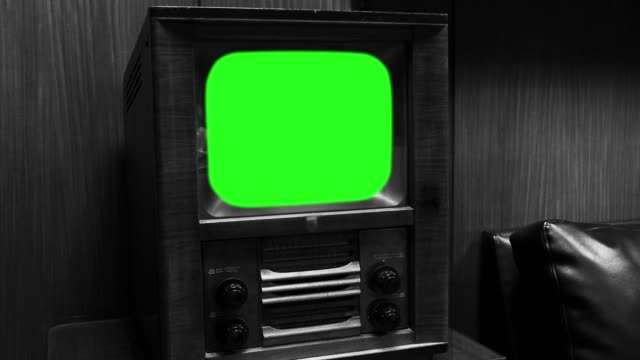 """Old Wooden Tv with Green Screen.  Black and White Tone. Old Wooden Tv with Green Screen, Ready to Replace Green Screen with any Footage or Picture you Want. You can do it with """"Keying"""" (Chroma Key) Effect in Adobe After Effects or Other Video Editing Software. Black and White Tone. Full HD. group of objects stock videos & royalty-free footage"""