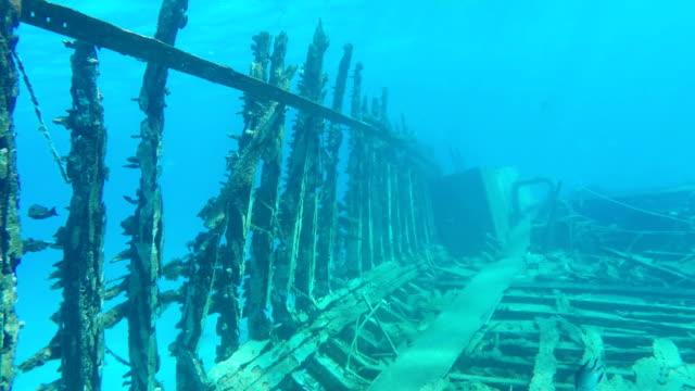 old wrecked ship sunken in the red sea - кораблекрушение стоковые видео и кадры b-roll