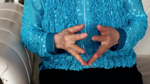 Old wrinkled hands of woman. Close-up. video