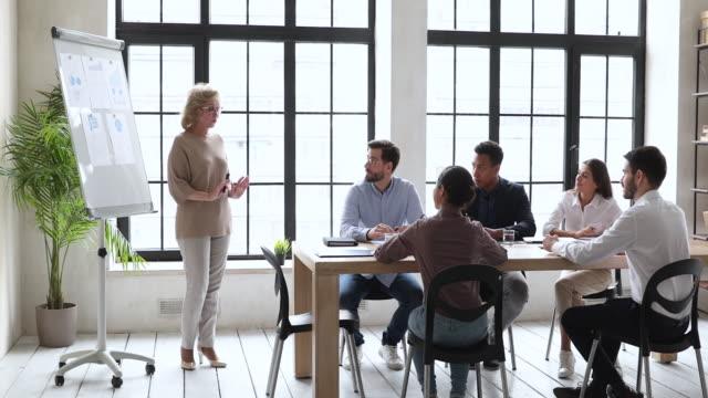 stockvideo's en b-roll-footage met de oudere bedrijfsleider geeft de presentatie van de spiegelgrafiek bij opleiding - marketing planning