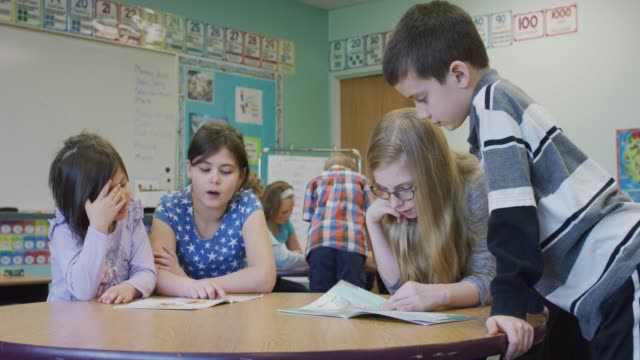 Older Students Reading With Younger Elementary Students video